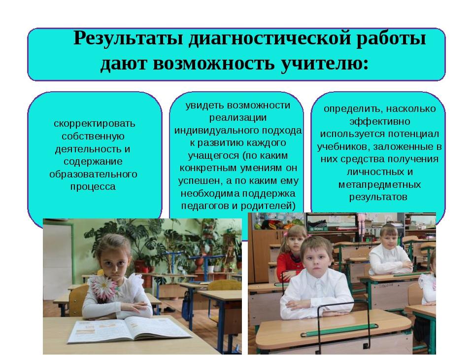 Результаты диагностической работы дают возможность учителю: увидеть возмож...