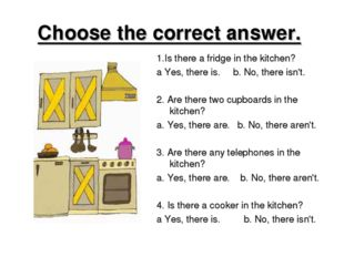 Choose the correct answer. 1.Is there a fridge in the kitchen? a Yes, there i