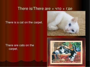 There is/There are + что + где There is a cat on the carpet. There are cats o