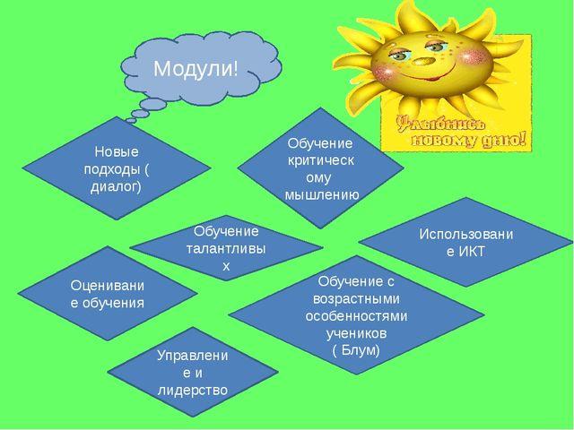 Модули! Новые подходы (диалог) Обучение критическому мышлению Оценивание обу...
