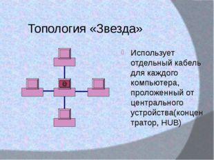Топология «Звезда» Использует отдельный кабель для каждого компьютера, пролож