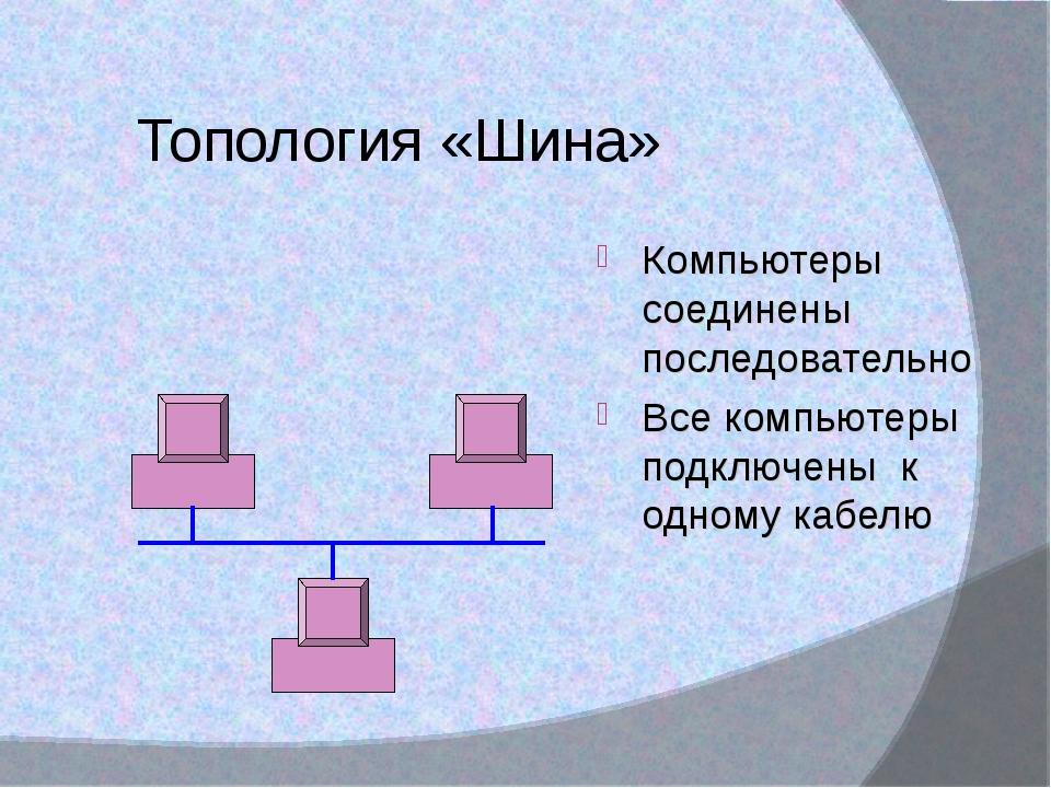 Топология «Шина» Компьютеры соединены последовательно Все компьютеры подключе...