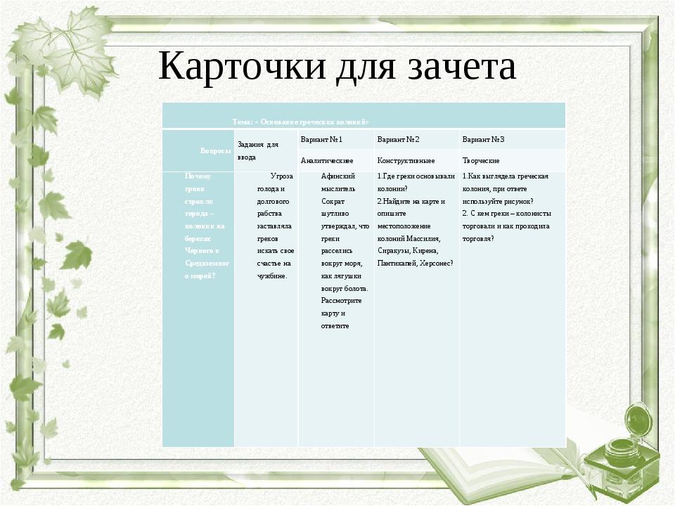 Карточки для зачета  Тема: « Основание греческих колоний»  ВопросыЗадания...