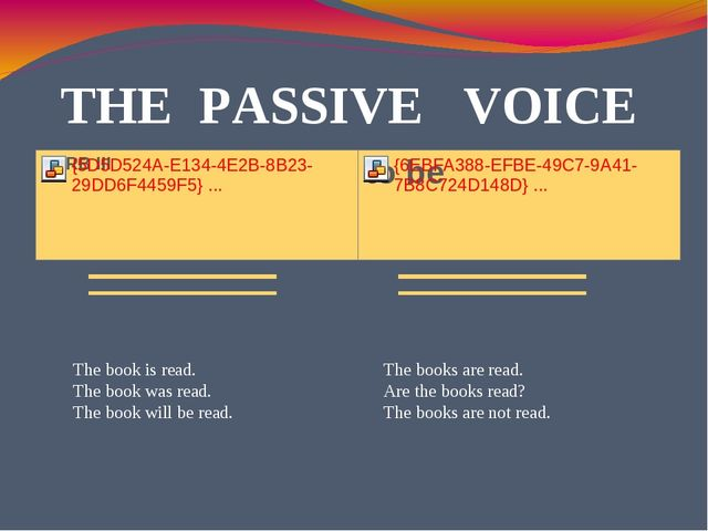 THE PASSIVE VOICE The book is read. The book was read. The book will be read....