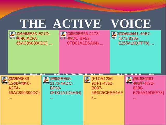 THE PASSIVE VOICE THE ACTIVE VOICE