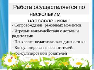 Работа осуществляется по нескольким направлениям : - Сопровождение режимных м