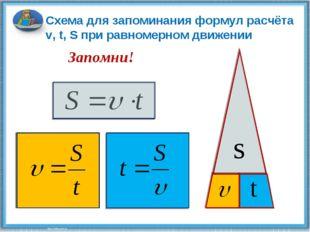 s t Схема для запоминания формул расчёта v, t, S при равномерном движении Зап