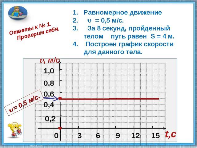 0 0,2 0,4 0,6 1,0 , м/c 3 6 9 12 15 t,c Ответы к № 1. Проверим себя. 0,8 Рав...
