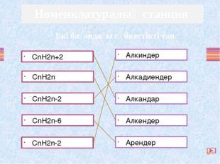 CnH2n+2 CnH2n CnH2n-2 CnH2n-6 CnH2n-2 Алкиндер Алкадиендер Алкандар Алкендер