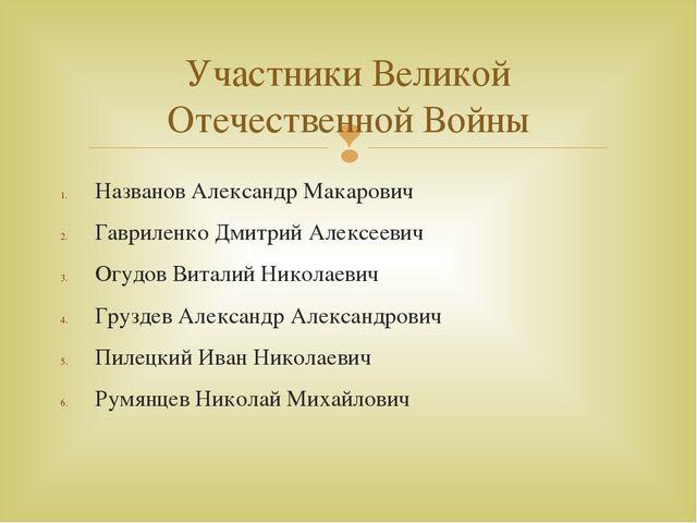 Названов Александр Макарович Гавриленко Дмитрий Алексеевич Огудов Виталий Ник...