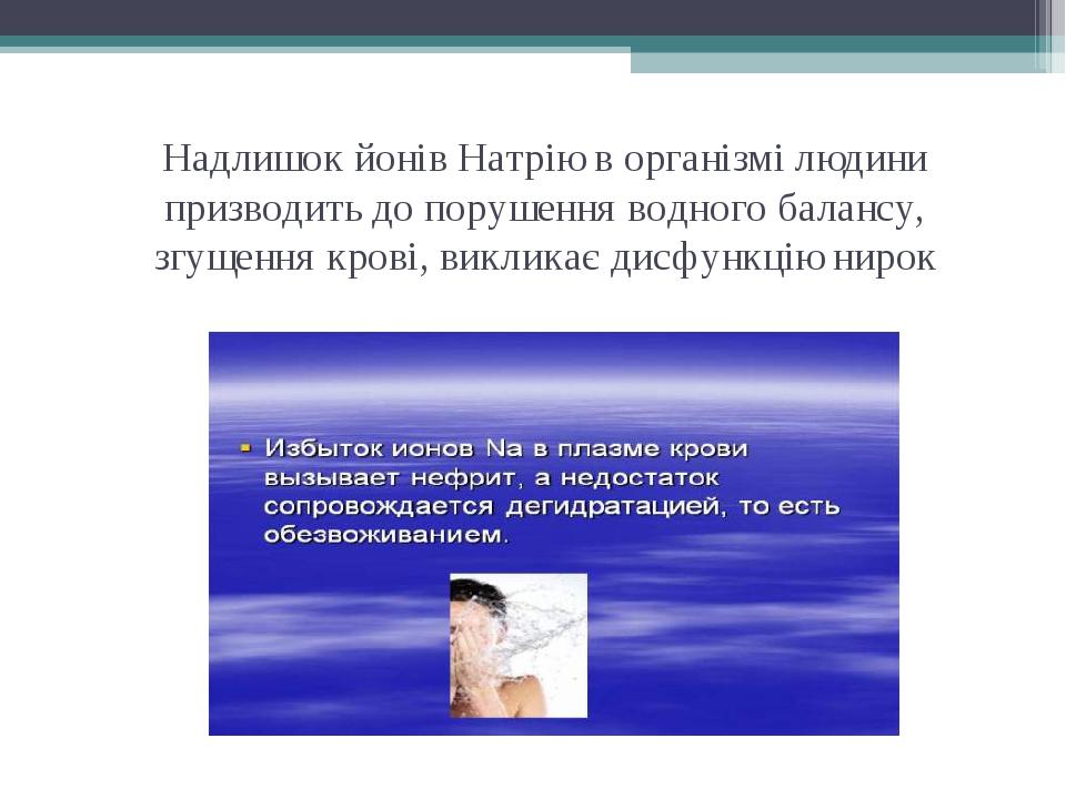 Надлишок йонів Натрію в організмі людини призводить до порушення водного бала...