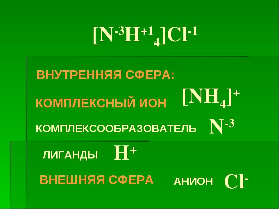 [N-3H+14]Cl-1 КОМПЛЕКСНЫЙ ИОН [NH4]+ ВНУТРЕННЯЯ СФЕРА: КОМПЛЕКСООБРАЗОВАТЕЛЬ...