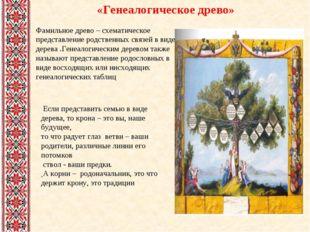 Если представить семью в виде дерева, то крона – это вы, наше будущее, то чт