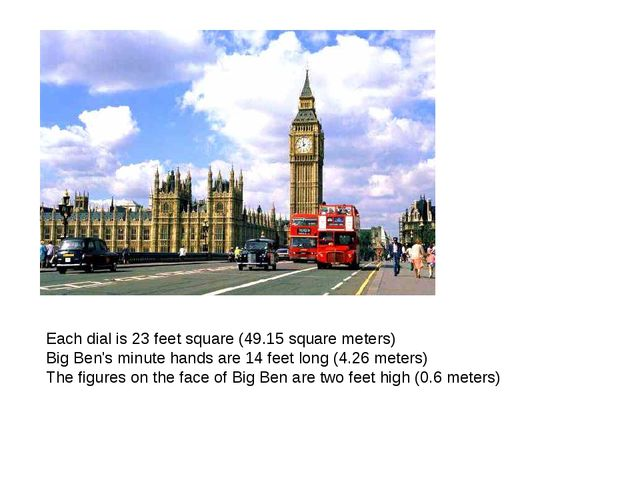 Each dial is 23 feet square (49.15 square meters) Big Ben's minute hands are...