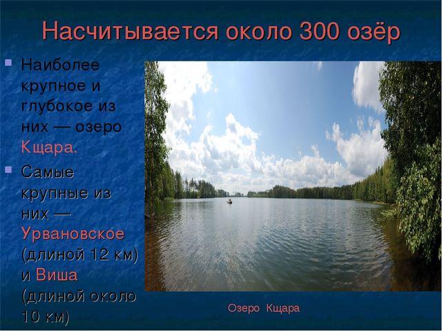 Насчитывается около 300 озёр Наиболее крупное и глубокое из них — озеро Кщара...