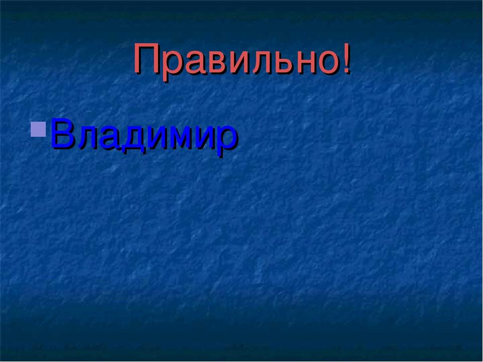 Правильно! Владимир