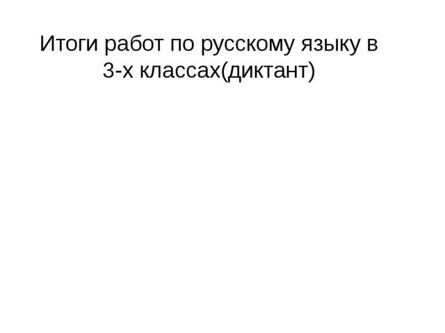 Итоги работ по русскому языку в 3-х классах(диктант)
