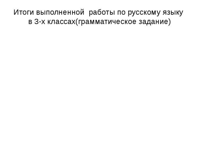 Итоги выполненной работы по русскому языку в 3-х классах(грамматическое задан...