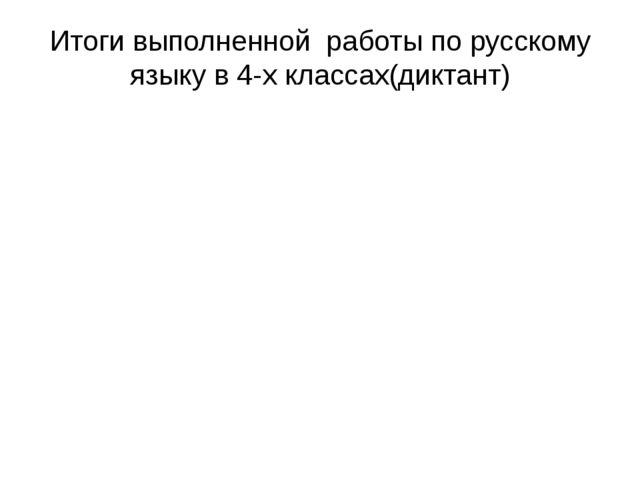 Итоги выполненной работы по русскому языку в 4-х классах(диктант)
