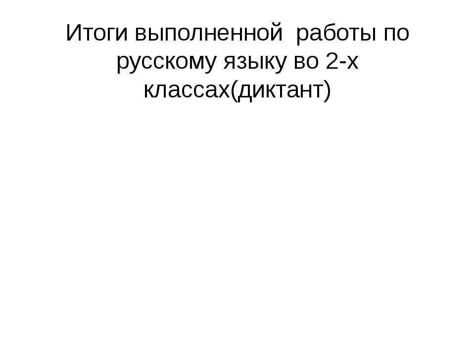 Итоги выполненной работы по русскому языку во 2-х классах(диктант)