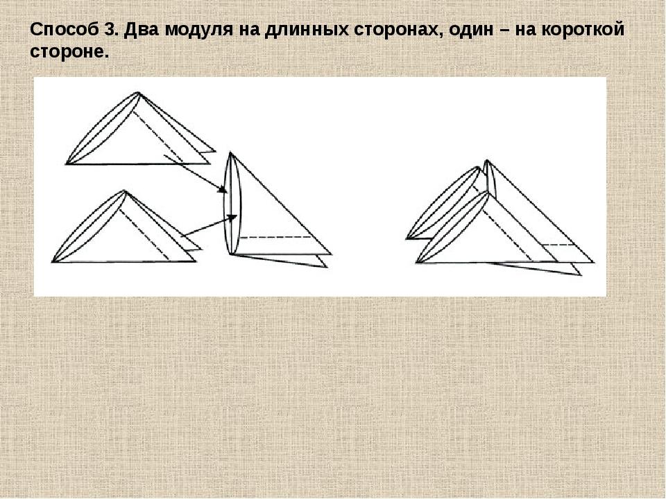 Способ 3. Два модуля на длинных сторонах, один – на короткой стороне.
