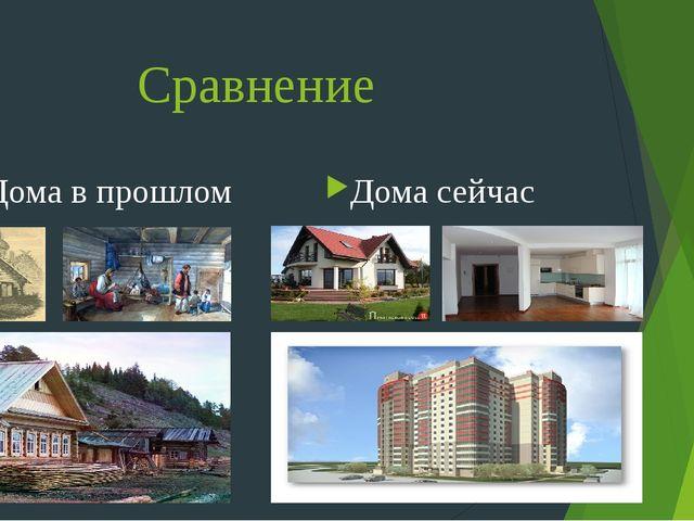 Сравнение Дома в прошлом Дома сейчас