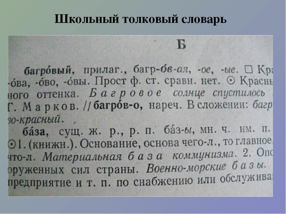 Школьный толковый словарь
