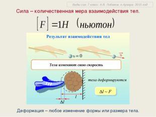 Сила – количественная мера взаимодействия тел. Деформация – любое изменение ф