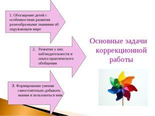 Основные задачи коррекционной работы 1. Обогащение детей с особенностями разв