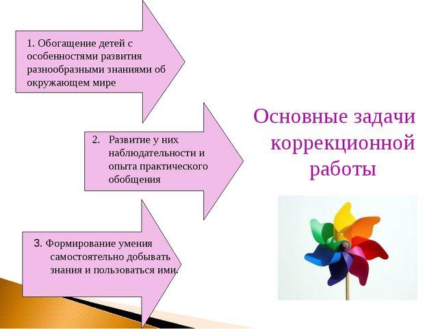 Основные задачи коррекционной работы 1. Обогащение детей с особенностями разв...