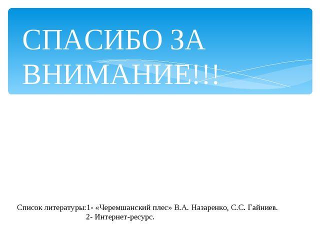 Список литературы:1- «Черемшанский плес» В.А. Назаренко, С.С. Гайниев. 2- Инт...