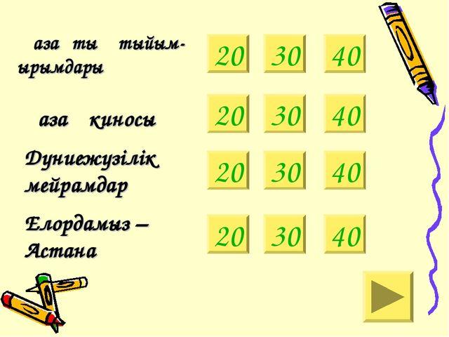 20 Қазақтың тыйым- ырымдары Қазақ киносы 30 40 Дүниежүзілік мейрамдар Елордам...