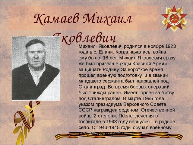 Камаев Михаил Яковлевич Михаил Яковлевич родился в ноябре 1923 года в с. Елан...
