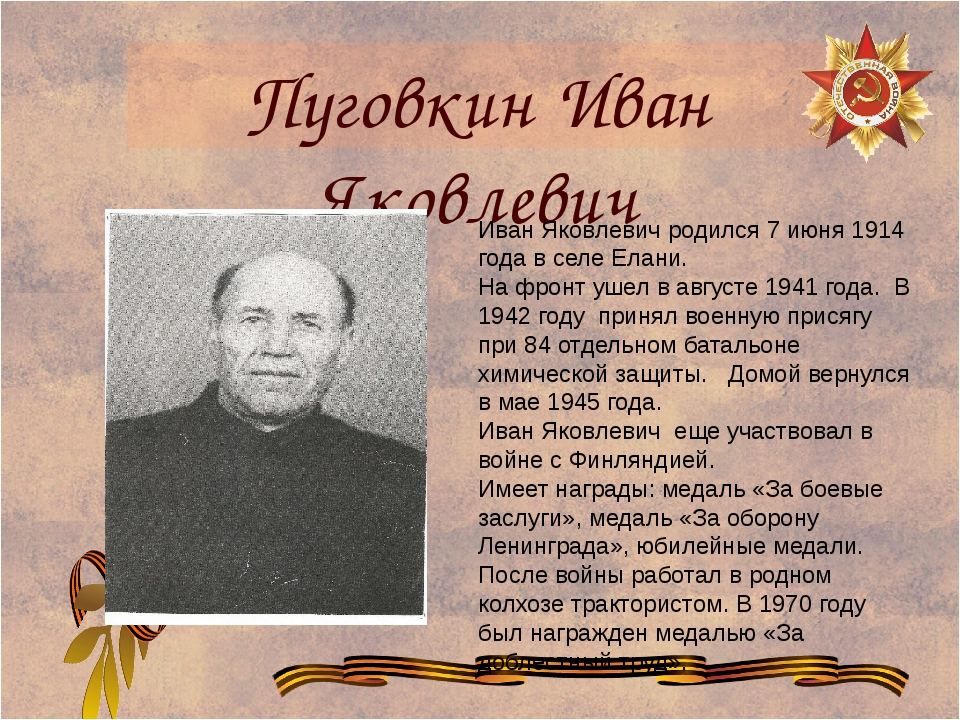 Пуговкин Иван Яковлевич Иван Яковлевич родился 7 июня 1914 года в селе Елани....