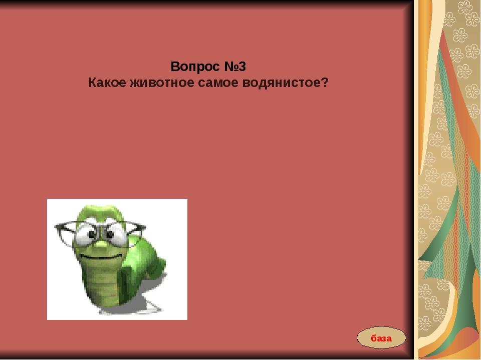 Вопрос №3 Какое животное самое водянистое? база