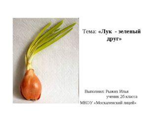 Тема: «Лук - зеленый друг» Выполнил: Рыжих Илья ученик 2б класса МКОУ «Моска