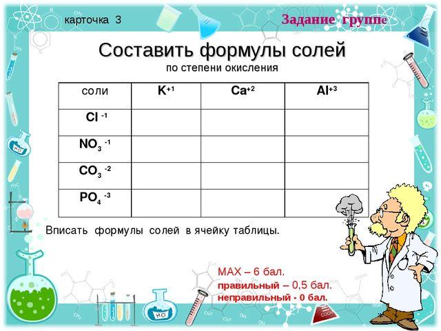 Задание группе карточка 3 Составить формулы солей по степени окисления Вписат...