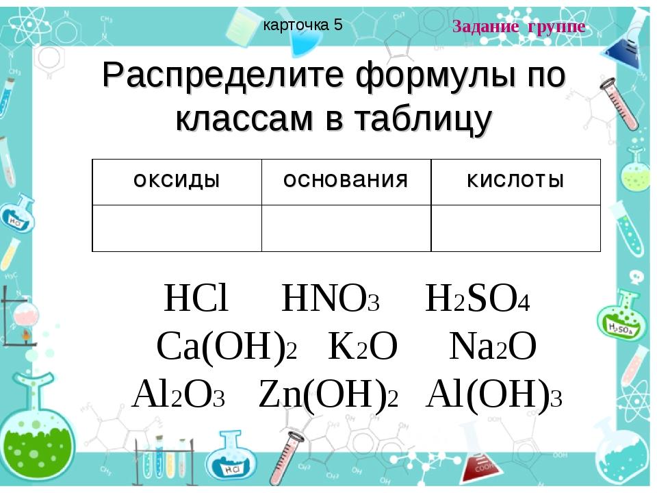 Распределите формулы по классам в таблицу HCl HNO3 H2SO4 Ca(OH)2 K2O Na2O Al2...