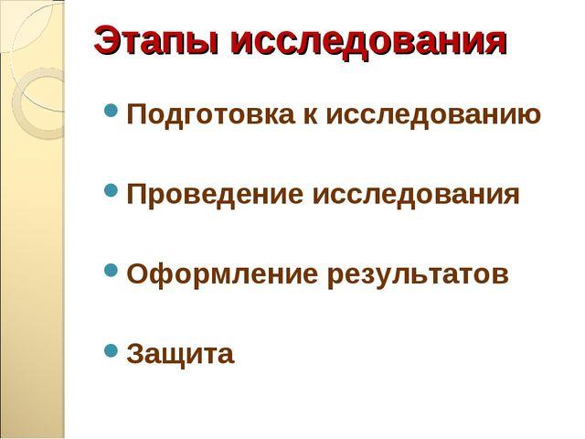 Этапы исследования Подготовка к исследованию Проведение исследования Оформлен...