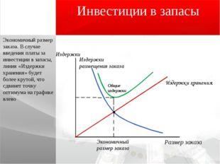 Инвестиции в запасы Экономичный размер заказа. В случае введения платы за инв