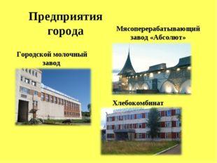 Предприятия города Городской молочный завод Мясоперерабатывающий завод «Абсол