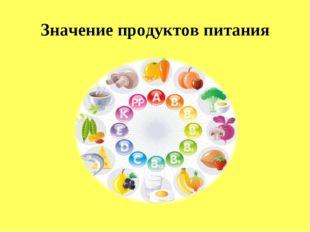 Значение продуктов питания