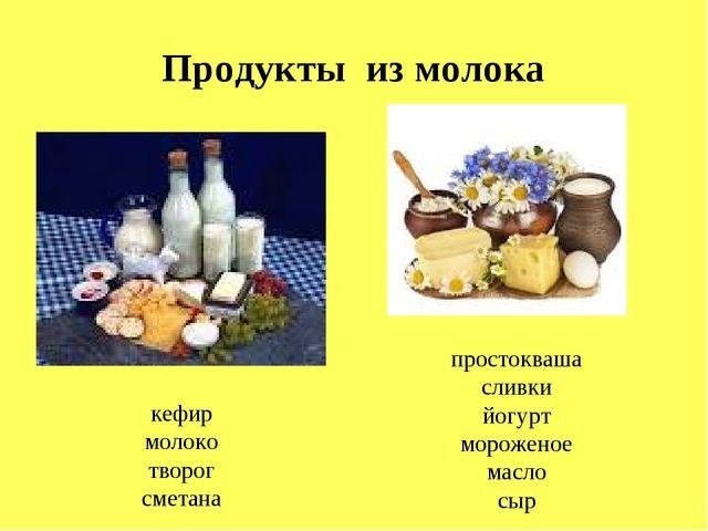 Продукты из молока кефир молоко творог сметана простокваша сливки йогурт моро...