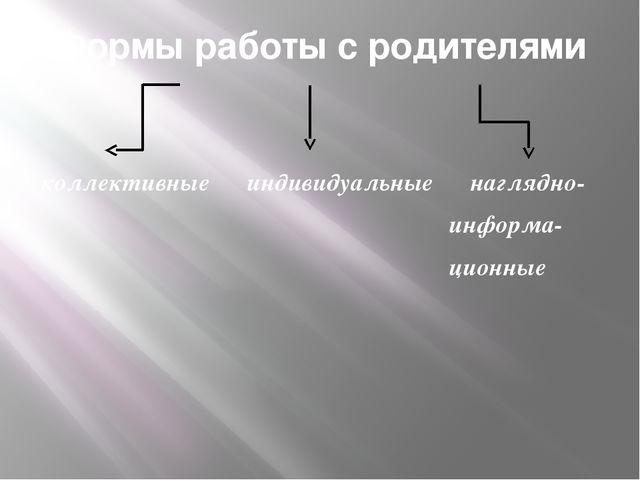 Формы работы с родителями коллективные индивидуальные наглядно- информа- цион...