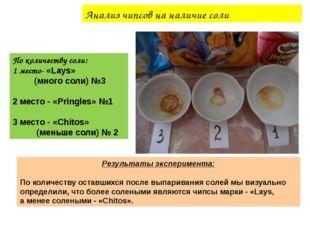 Анализ чипсов на наличие соли По количеству соли: 1 место- «Lays» (много соли