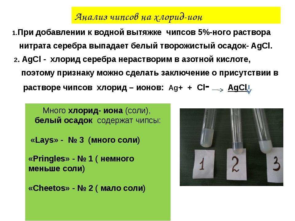 Анализ чипсов на хлорид-ион 1.При добавлении к водной вытяжке чипсов 5%-ного...