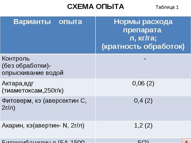 СХЕМА ОПЫТА 5 Таблица 1 Варианты опытаНормы расхода препарата л, кг/га; (кра...