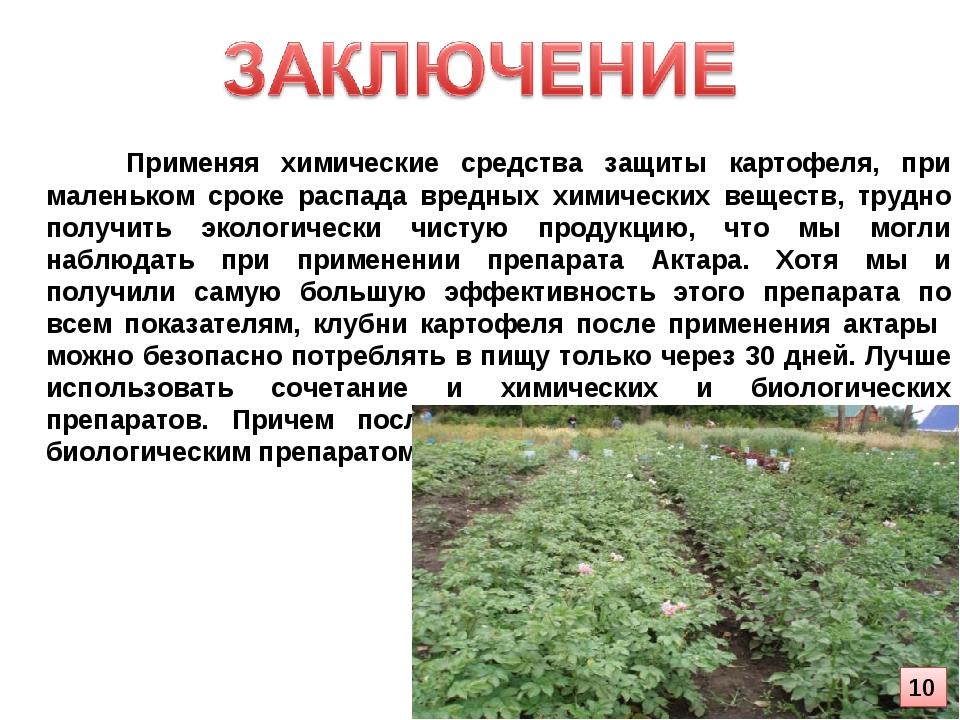 Применяя химические средства защиты картофеля, при маленьком сроке распада в...