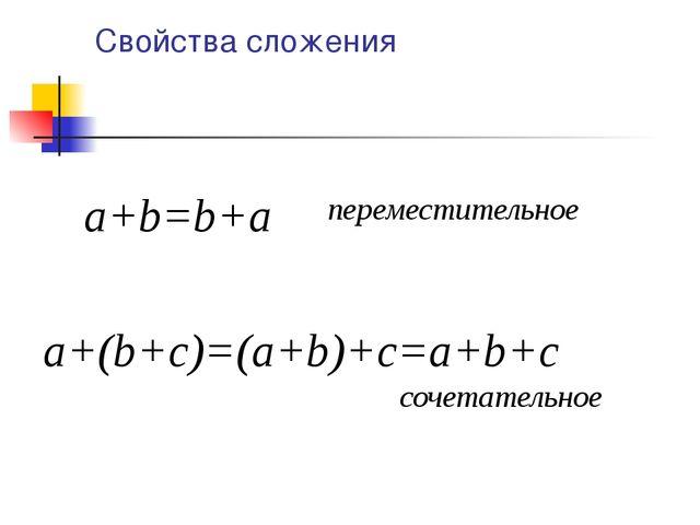 Свойства сложения a+b=b+a a+(b+с)=(a+b)+c=a+b+c переместительное сочетательное