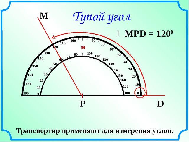 Тупой угол Транспортир применяют для измерения углов.